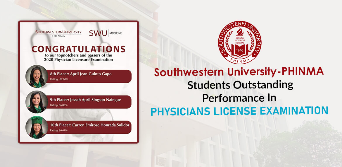 Southwestern University-PHINMA Students Outstanding Performance In PHYSICIANS LICENSE EXAMINATION